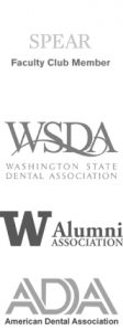 Logos for Spear Faculty Club, Washington State Dental Association, University of Washington Alumni Association and ADA